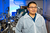 UB physics PhD students Haolei Hui is one of the first authors of a new study that reports on the creation of barium zirconium sulfide thin films. The research was led by UB physics professor Hao Zeng. <br /> <br /> Photographer: Douglas Levere
