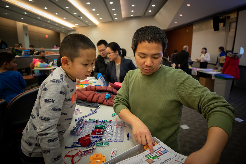 The annual CSE Kids' Day, sponsored by the Department of Computer Science and Engineering, took place in Davis Hall in December 2019. The event is organized by UB students and offers a variety of interactive, kid-friendly activities.<br /> <br /> Photographer: Meredith Forrest Kulwicki