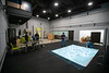 Inside UB's SMART Motion Capture Lab, students create a simulated environment to demonstrate how autonomous air and ground robots can work together. Photographed in December 2019 in Bonner Hall. The research team, led by David Doermann, Eshan Esfahani and Karthik Dantu,received a federal grant to study the decisions people make while gaming.<br /> <br /> Photographer: Douglas Levere