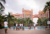 UB Football players pose for photos near the pool at the Atlantis Paradise Hotel on Dec. 16, 2019 as they prepare for the Makers Wanted Bahamas Bowl.<br /> <br /> Photographer: Meredith Forrest Kulwicki