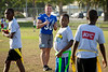 Running back Ryan Razzano (30) participates in the Youth Football Clinic near the old Thomas Robinson Stadium on Dec. 18, 2019 in the Bahamas. Youth, ages 7-13, came out for drills, game play and end zone dance practice during the clinic. The Youth Clinic, sponsored by KFC, is held in cooperation between the Makers Wanted Bahamas Bowl and USA Football.<br /> <br /> Photographer: Meredith Forrest Kulwicki