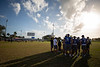 UB players participate in the Youth Football Clinic near the old Thomas Robinson Stadium on Dec. 18, 2019 in the Bahamas. Youth, ages 7-13, came out for drills, game play and end zone dance practice during the clinic. The Youth Clinic, sponsored by KFC, is held in cooperation between the Makers Wanted Bahamas Bowl and USA Football.<br /> <br /> Photographer: Meredith Forrest Kulwicki