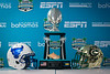 The trophy was on display with the Buffalo and Charlotte helmets before the start of the pregame press conference ahead of the Makers Wanted Bahamas Bowl at Thomas A. Robinson National Stadium on Dec. 19, 2019.<br /> <br /> Photographer: Meredith Forrest Kulwicki