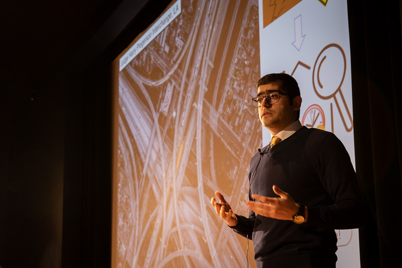 The Fourth Annual Three Minute Thesis Competition, hosted by the Graduate School and Blackstone LaunchPad. The presentations took place in the Screeen Room at CFA in March 2020. Presenter: Seyed Omid Sajedi <br /> <br /> Photographer: Meredith Forrest Kulwicki