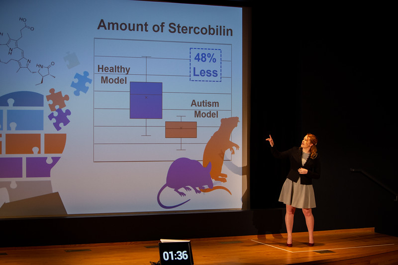 The Fourth Annual Three Minute Thesis Competition, hosted by the Graduate School and Blackstone LaunchPad. The presentations took place in the Screeen Room at CFA in March 2020. Presenter: Emily Sekera<br /> <br /> Photographer: Meredith Forrest Kulwicki