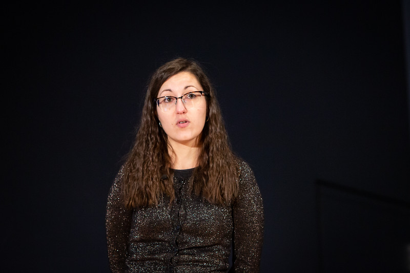 The Fourth Annual Three Minute Thesis Competition, hosted by the Graduate School and Blackstone LaunchPad. The presentations took place in the Screeen Room at CFA in March 2020. Presenter: Joelle Carota<br /> <br /> Photographer: Meredith Forrest Kulwicki
