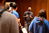 Michael Mwenso, a UB visiting professor of the arts and leader of Mwenso & the Shakes, works with students in a jazz combo class lead by Professor George Caldwell, with the Department of Music in September 2020 at Slee Hall.<br /> <br /> Photographer: Meredith Forrest Kulwicki<br /> <br /> This image has been approved by UB's Office of Environment, Health and Safety to align with current (fall 2020) health and safety regulations during the COVID-19 pandemic.