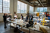 Students in Architecture and Planning participate in the studio class, Tectonics of Buoyancy, in the Fabrication Workshop in Parker Hall in September 2020. Professors for the class include Chris Romano (co-coordinator), Ken MacKay (co-coordinator), Seth Amman, Elaine Chow, Rutuja Shinde and Jon Spielman. <br /> <br /> Photographer: Douglas Levere<br /> <br /> This image has been approved by UB's Office of Environment, Health and Safety to align with current (fall 2020) health and safety regulations during the COVID-19 pandemic.