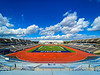 Fall colors and some stormy skies at the UB Stadium photographed in October 2020.<br /> <br /> Photographer: Douglas Levere<br /> <br /> This image has been approved by UB's Office of Environment, Health and Safety to align with current (fall 2020) health and safety regulations during the COVID-19 pandemic.