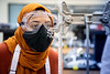Students participate in 100 level chemistry labs in the Natural Sciences Complex in October 2020. Students demonstrate proper use of face coverings and other PPE while working in a research lab, in keeping with current guidelines.<br /> <br /> Photographer: Meredith Forrest Kulwicki<br /> <br /> This image has been approved by UB's Office of Environment, Health and Safety to align with current (fall 2020) health and safety regulations during the COVID-19 pandemic.