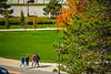 Students walking near Capen Hall in October 2020 with face coverings. <br /> <br /> Photographer: Douglas Levere<br /> <br /> This image has been approved by UB's Office of Environment, Health and Safety to align with current (fall 2020) health and safety regulations during the COVID-19 pandemic.
