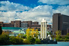 Fall colors at Baird Point and Lake La Salle looking back to North Campus photographed in October 2020.<br /> <br /> Photographer: Douglas Levere<br /> <br /> This image has been approved by UB's Office of Environment, Health and Safety to align with current (fall 2020) health and safety regulations during the COVID-19 pandemic.