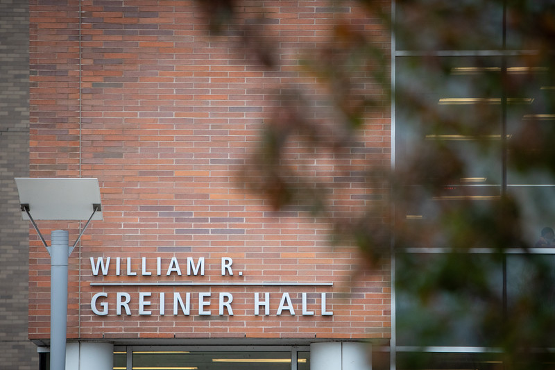 Examples of signature on Greiner Hall on North Campus in the fall, photographed in October 2020. <br /> <br /> Photographer: Meredith Forrest Kulwicki
