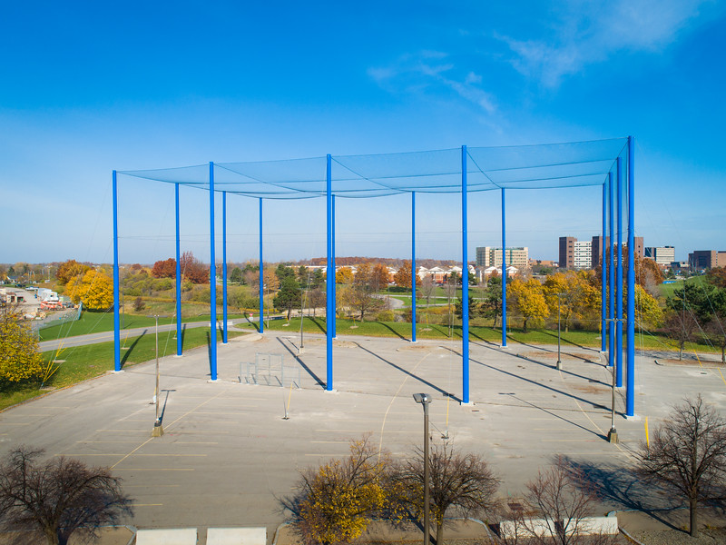 The finishes touches are complete on the drone research space for Engineering in the Crofts Hall parking lot on North Campus. These aerial images were taken in November 2020.<br /> <br /> Photographer: Mark Adams <br /> <br /> This image has been approved by UB's Office of Environment, Health and Safety to align with current (fall 2020) health and safety regulations during the COVID-19 pandemic.