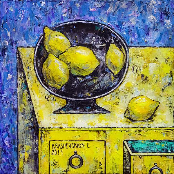 """Lemons"" (oil on canvas) by Alena Dziamentsyeva"