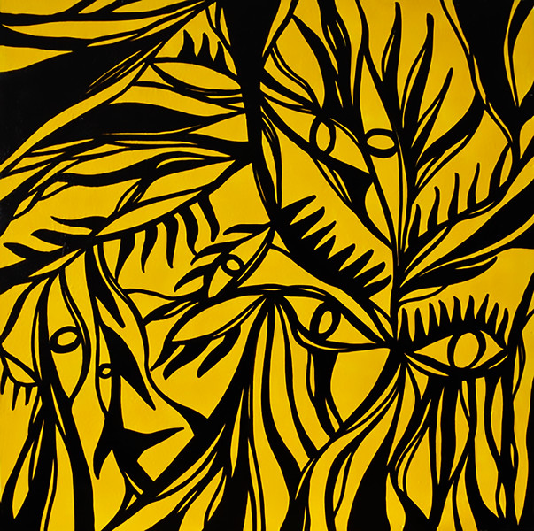 """""""Eyes in Yellow"""" (acrylic and marker on wood) by Hui-ju Chen"""