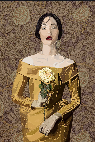 """""""Lady in Yellow"""" (oil, acrylic, gold, graphic tablet on canvas) by Nina Dobrovolska"""