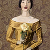 """Lady in Yellow"" (oil, acrylic, gold, graphic tablet on canvas) by Nina Dobrovolska"