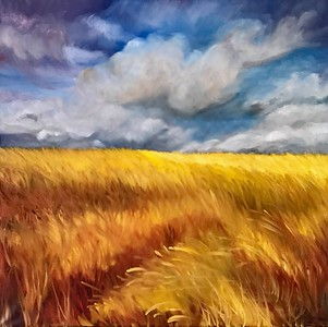 """Mueller's Meadow"" (oil on canvas) by Mitra Devon"
