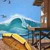 """California Dreamin' at the Wedge"" (acrylic) by Natalie Reilly"