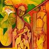 """Madonna With Yellow Birds"" (acrylic and oil on canvas) by René Alvarado"