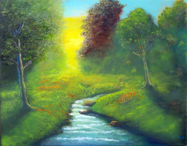 """Sunlight on the Meadow"" (oil on canvas) by Eldon Case"