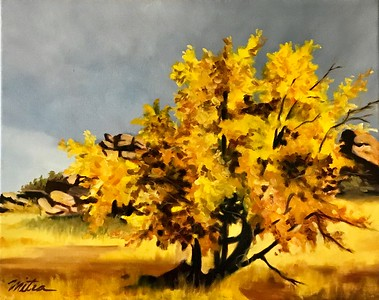 """Autumn's Glory"" (oil on canvas) by Mitra Devon"