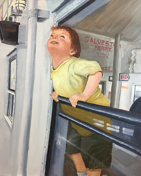 """""""First Ferry Ride"""" (oil on canvas) by Crista Bromley"""