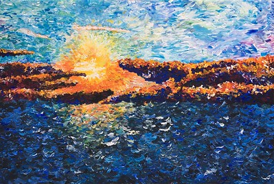 """Sunset at Cabo da Roca"" (acrylic on canvas) by Ksenia Kulikova"