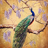 """Peacock"" (oil, acrylic, gold, on canvas) by Nina Dobrovolska"
