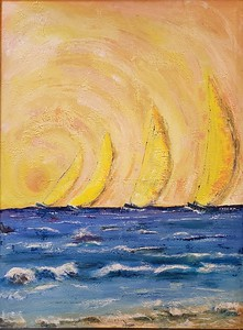 """Yellow sky at night"" (acrylic) by Colleen Provencher"