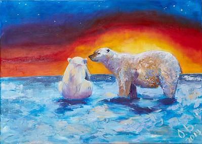 """White Yellow Pole"" (acrylic on canvas) by Olga Bavykina"
