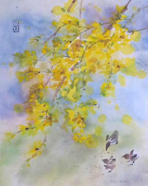 """""""Forsythia and Chicks"""" (ink, watercolor) by Caryn Coville"""