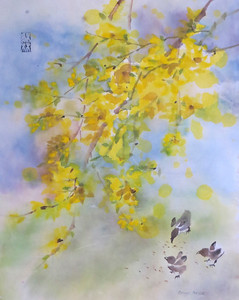"""Forsythia and Chicks"" (ink, watercolor) by Caryn Coville"