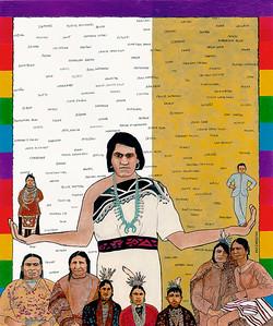 """""""Who Am I ... WeWha, Two Spirit Zuni"""" (acrylic, ink) by M.C. Carolyn"""