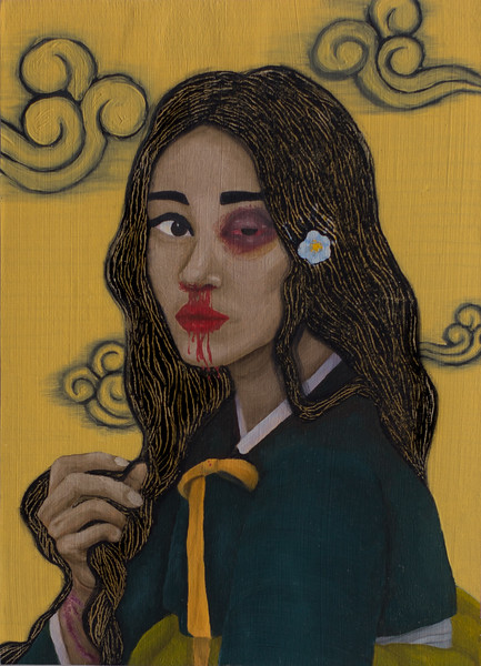"""""""Portrait of Comfort Woman"""" (oil and acrylic) by Esther Kim"""
