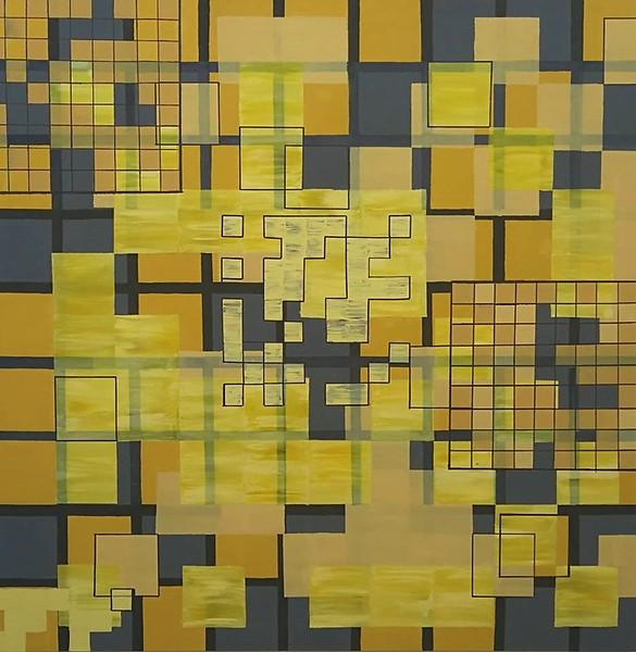 """Harmonious Layout 9"" (emulsion on canvas ) by Alexx Haley"