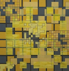 """Harmonious Layout 9"" (emulsion on canvas ) by Alexx Haley"