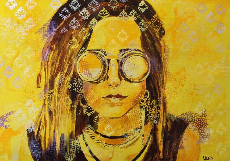 """Steam Punk Who Are You?"" (acrylic) by Laurie Rosenberg"