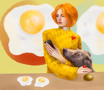 """Yellow Eggs"" (digital illustration) by Barbara Green"