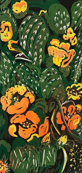 """Kernersville Cactus"" (reduction linocut print) by Barbara Mellin"