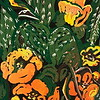 """Kernersville Cactus"" (reduction linocut print) by Barbara Mellin"