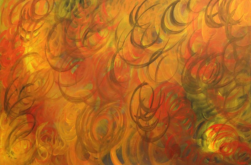 """Flames of Supreme Love"" (acrylic on canvas) by Summer Bhullar"