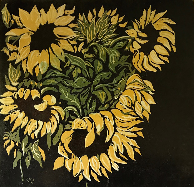 """Sunflowers"" (reduction linocut print) by Barbara Mellin"
