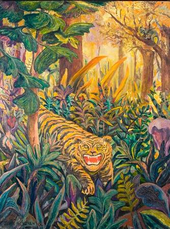 """Tiger"" (acrylic on canvas) by John Hemmen"