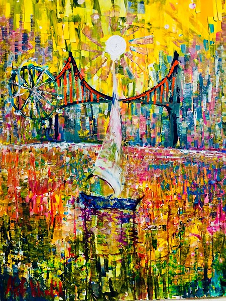 """""""Rainbow City"""" (acrylic) by Afaf Khalil"""
