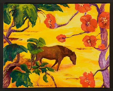 """Drinking Horse"" (acrylic on canvas) by John Hemmen"
