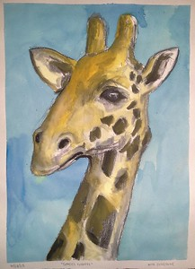 """Giraffe"" (pen and ink on watercolor paper) Nicholas Beverageby"