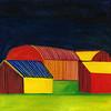 """""""Sunny Barns"""" (egg tempera painting) by Paula Pohli"""