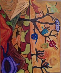 """The hills have eyes"" (acrylic) by Zhuldyz Abdikerimova"